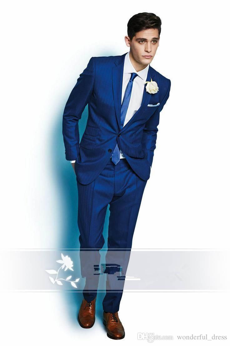 New Arrival Groomsmen Suits Two Button Royal Blue Wedding Suits For ...