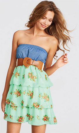 Delias Belted Denim Floral Tiered Dress - $29.50 (15% Discount)