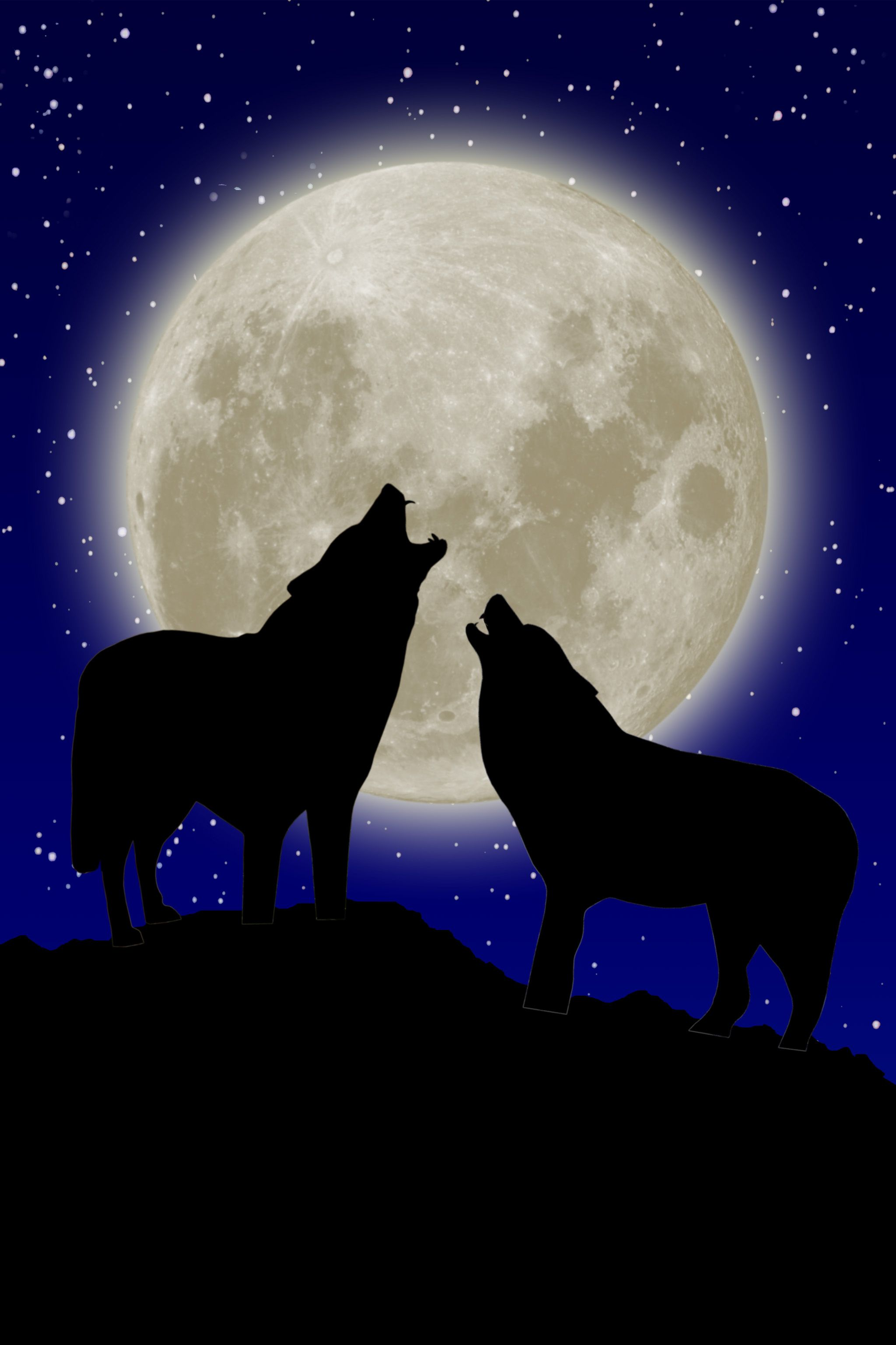 2 Wolves Howling At The Moon Together Wolves Howling At The Moon Wolf Howling At Moon Wolf Silhouette