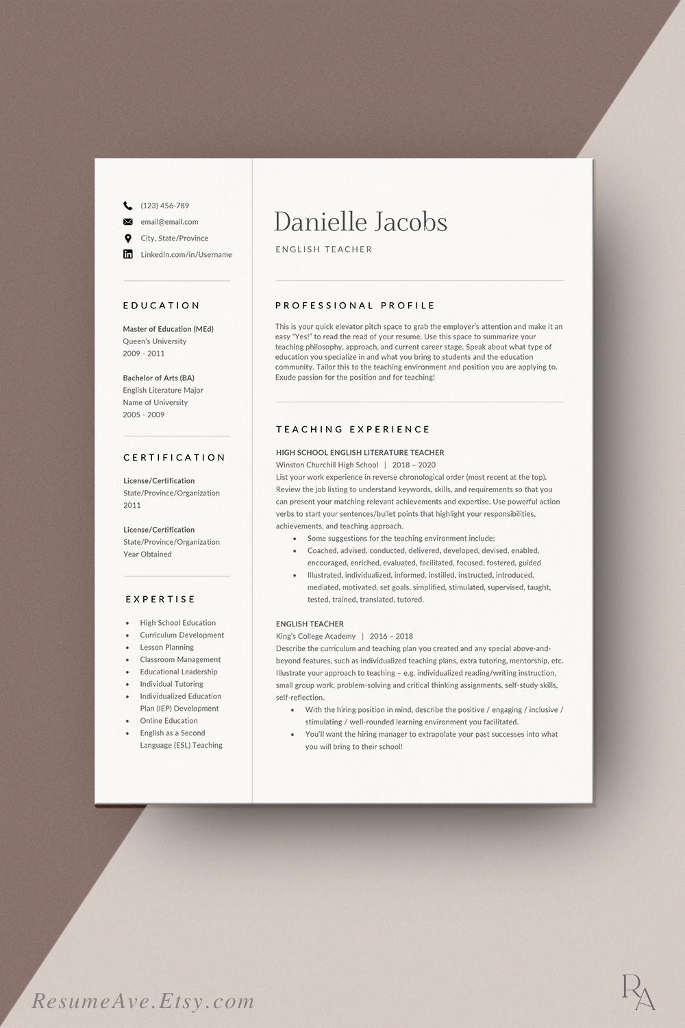 Professional teacher resume template Word design cv