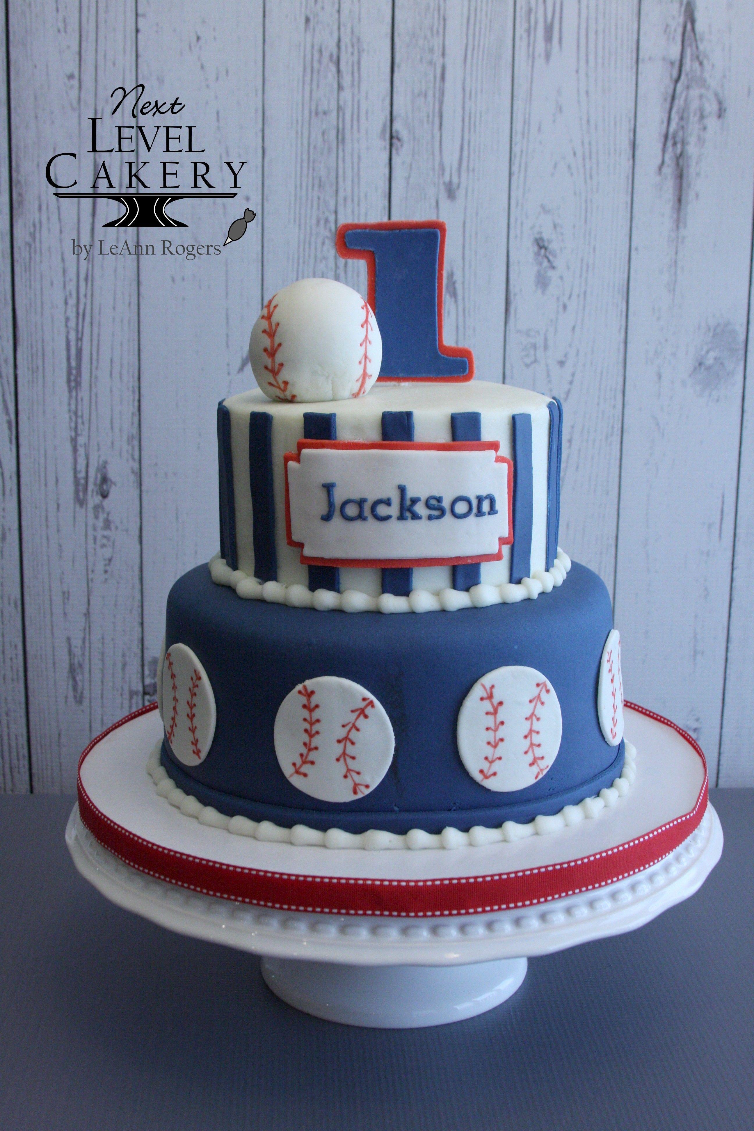 Baseball Cake Blue Red White Cake First Birthday Cake Next