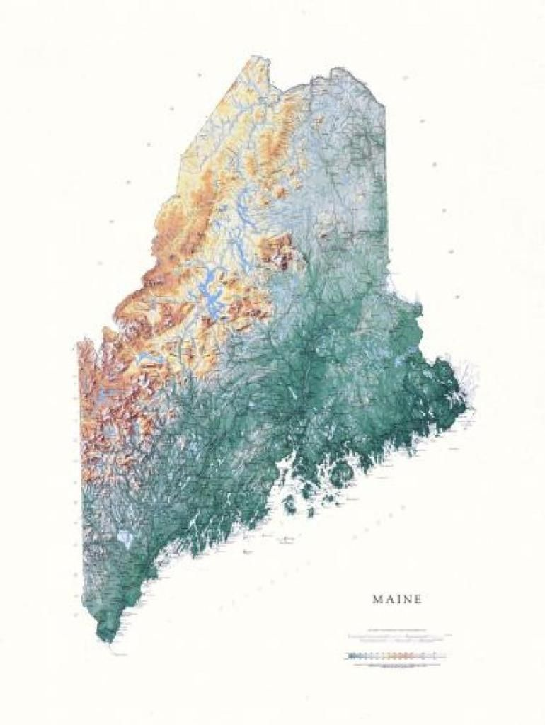 maine physical laminated wall map by raven maps wall on laminated wall maps id=50183