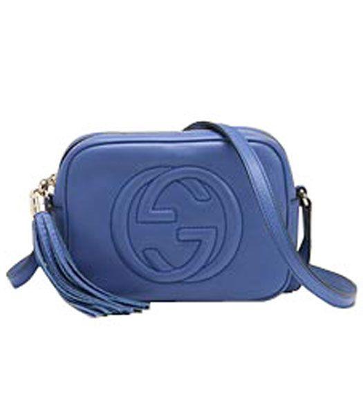 Gucci Disco Bag Soho Blue Leather Replica Handbags