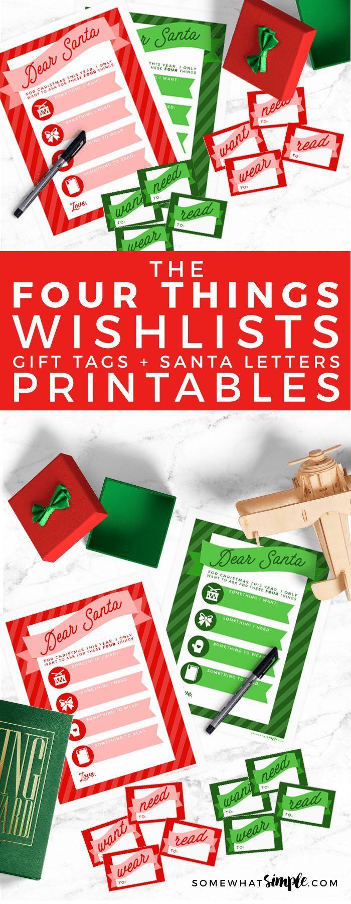 Santa Christmas Wish List (Free Printables + Tags