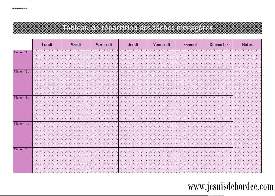 Bien connu tableau d'organisation des tâches ménagères 02 | Organisation  UE33