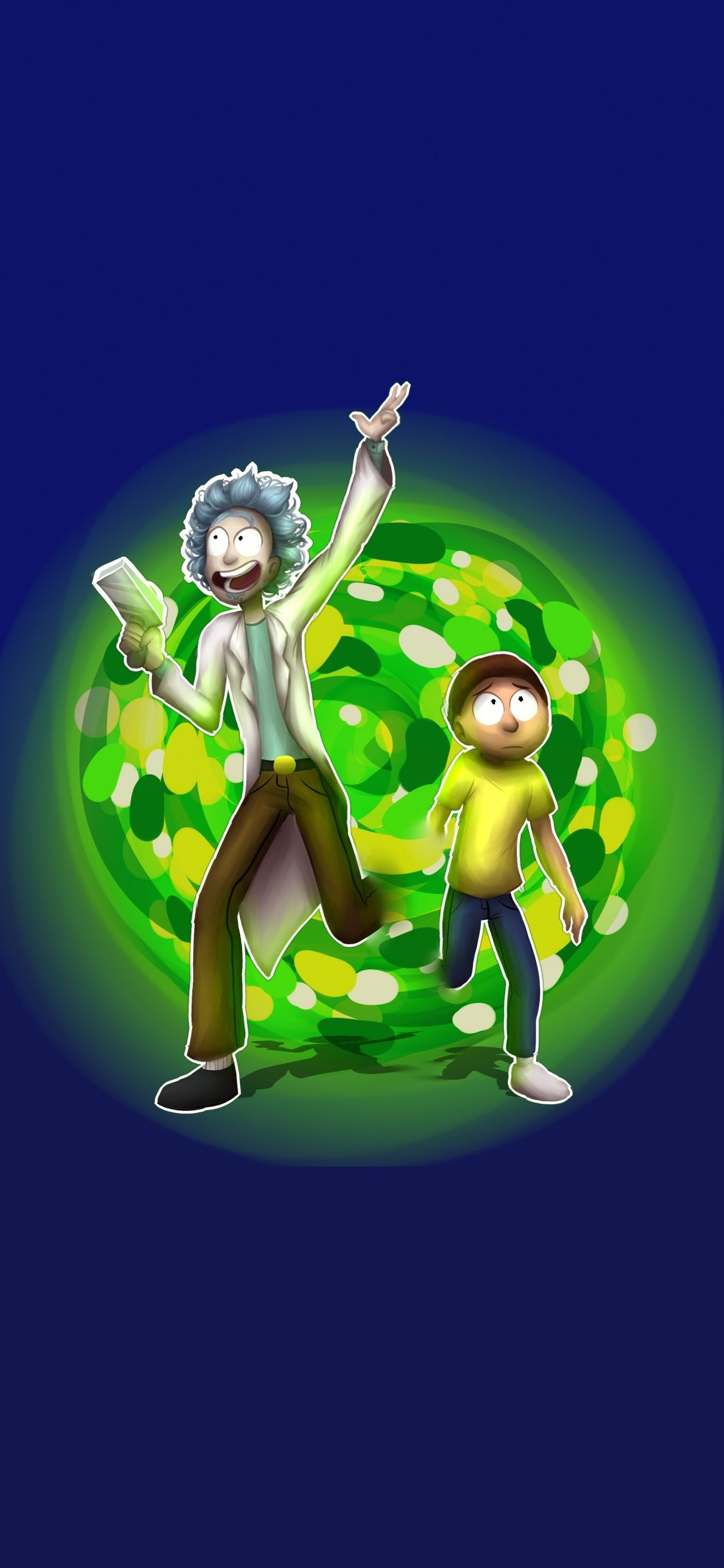 Rick And Morty Run Through Portal Fan Art 1125x2436 Wallpaper Wallpaper Free Hd Wallpapers Hd Wallpaper Rick and morty green portal wallpaper