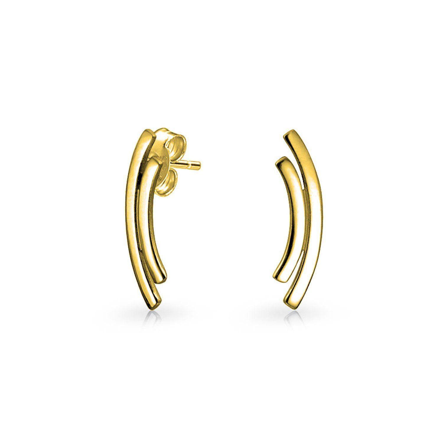 747c7b897a5b7 Gold Plated 925 Silver Double Curved Bar Stud Earrings -- You can ...