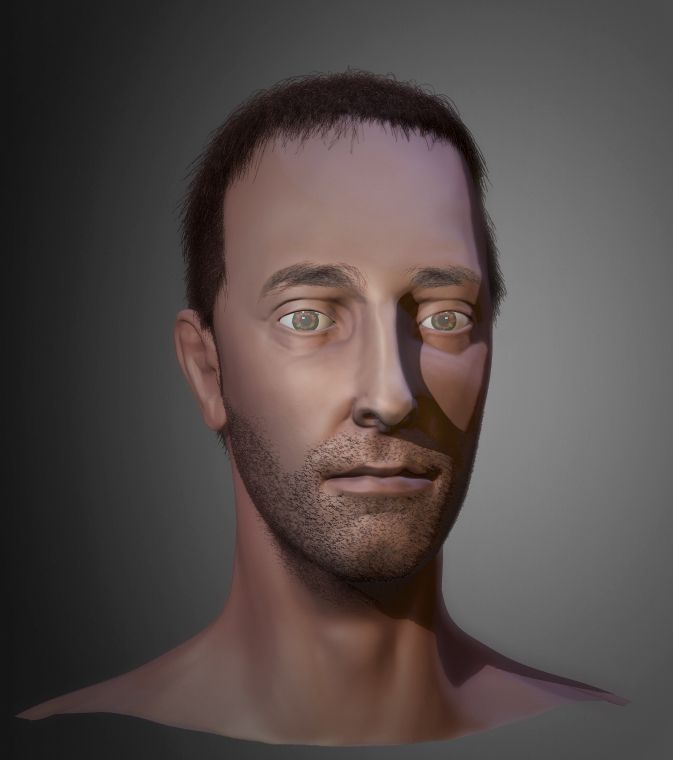 Thin Man - sculpted in ZBrush with Fibermesh hair/stubble  Eyes iris