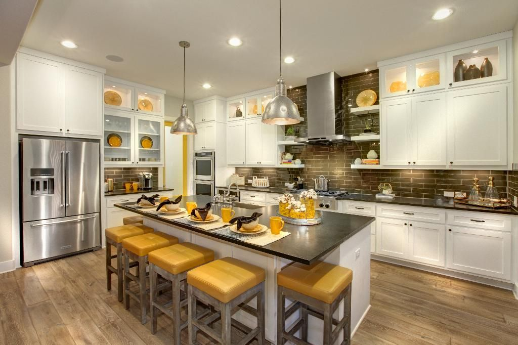 I Love The Splashes Of Yellow ~ Fun U0026 Cheerful · Kitchens With White  CabinetsKitchen ...