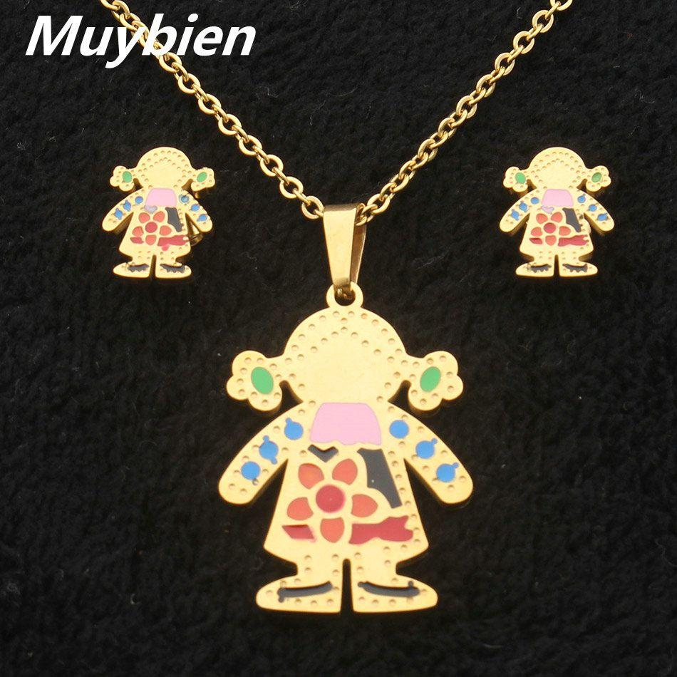 Kids shell jewelry set stainless steel cartoon boy pendant necklace