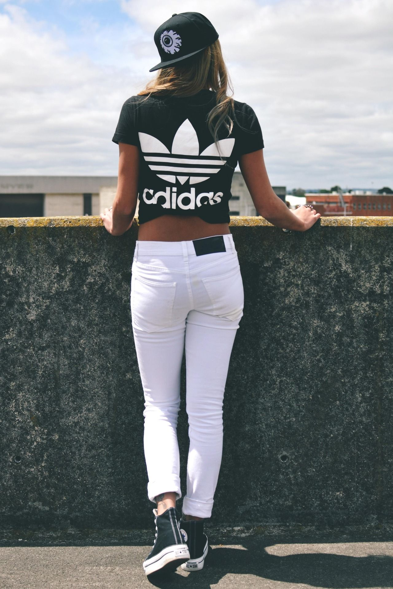 White Jeans. Black Adidas T Shirt. Black Converse Shoes