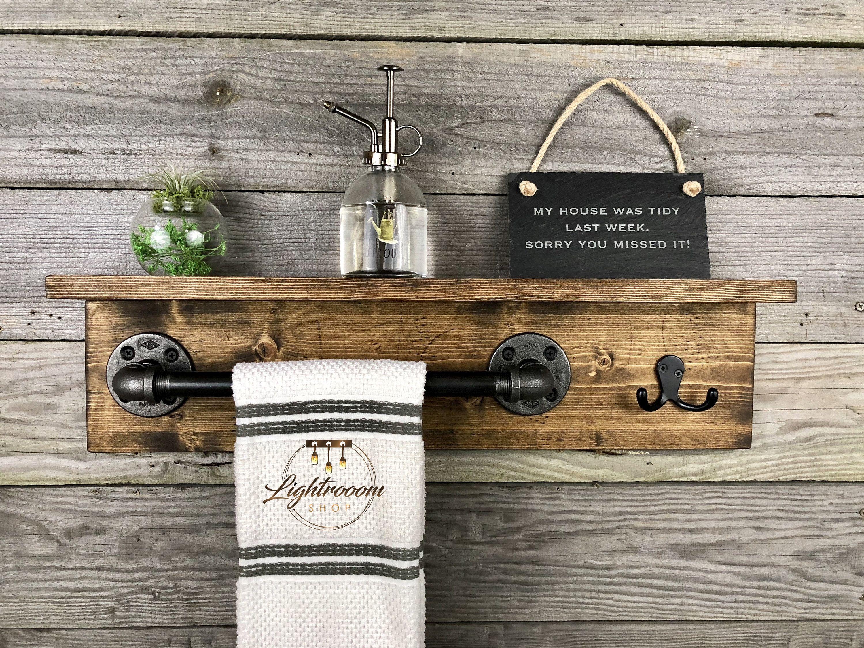 Towel Holder With Shelf Rustic Industrial Towel Bar Floating