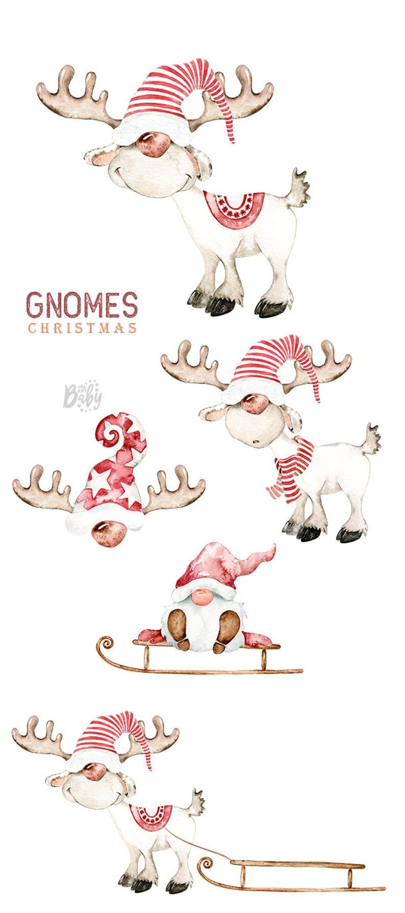 Christmas Deer Nordic Gnomes Art Gnome Clipart Scandinavian Etsy In 2020 Christmas Drawing Christmas Gnome Christmas Art