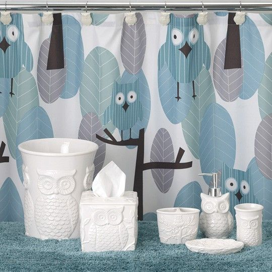 Owl Bath Collection How AdorableThen Again Annas Linens Has - Owl bathroom decor set for small bathroom ideas