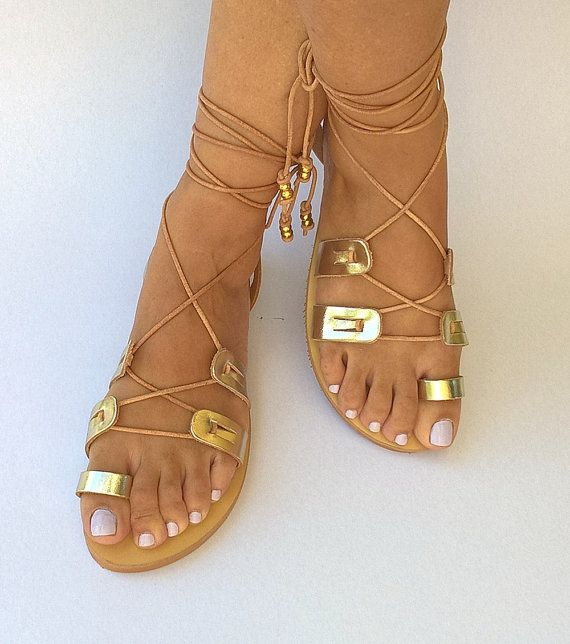 Gladiator Greek Leather Sandals, Womens shoes, Strappy