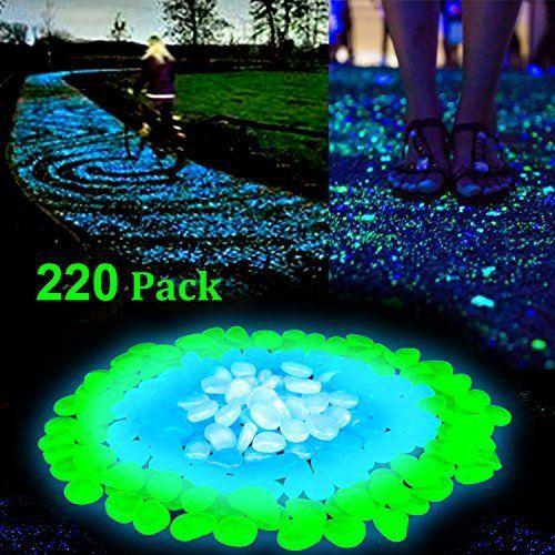 100Pcs-DIY Glow in The Dark Stones Pebble For Garden Aquarium Walkway Pool