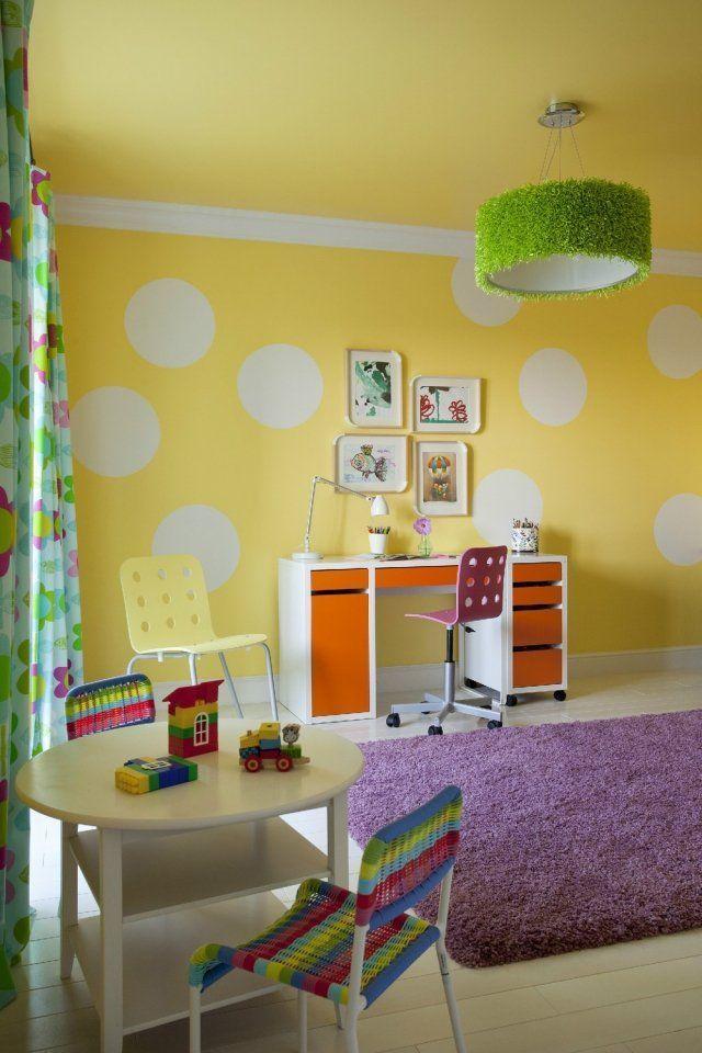 wandfarben ideen kinderzimmer gelb weiße punkte Kinder