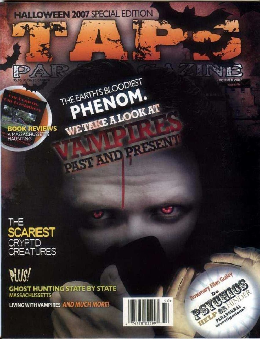 """""""Interview With A Vampire - Merticus"""" By Amber Vanzant for TAPS Paranormal Magazine - Pages 20-23 - October 2007"""