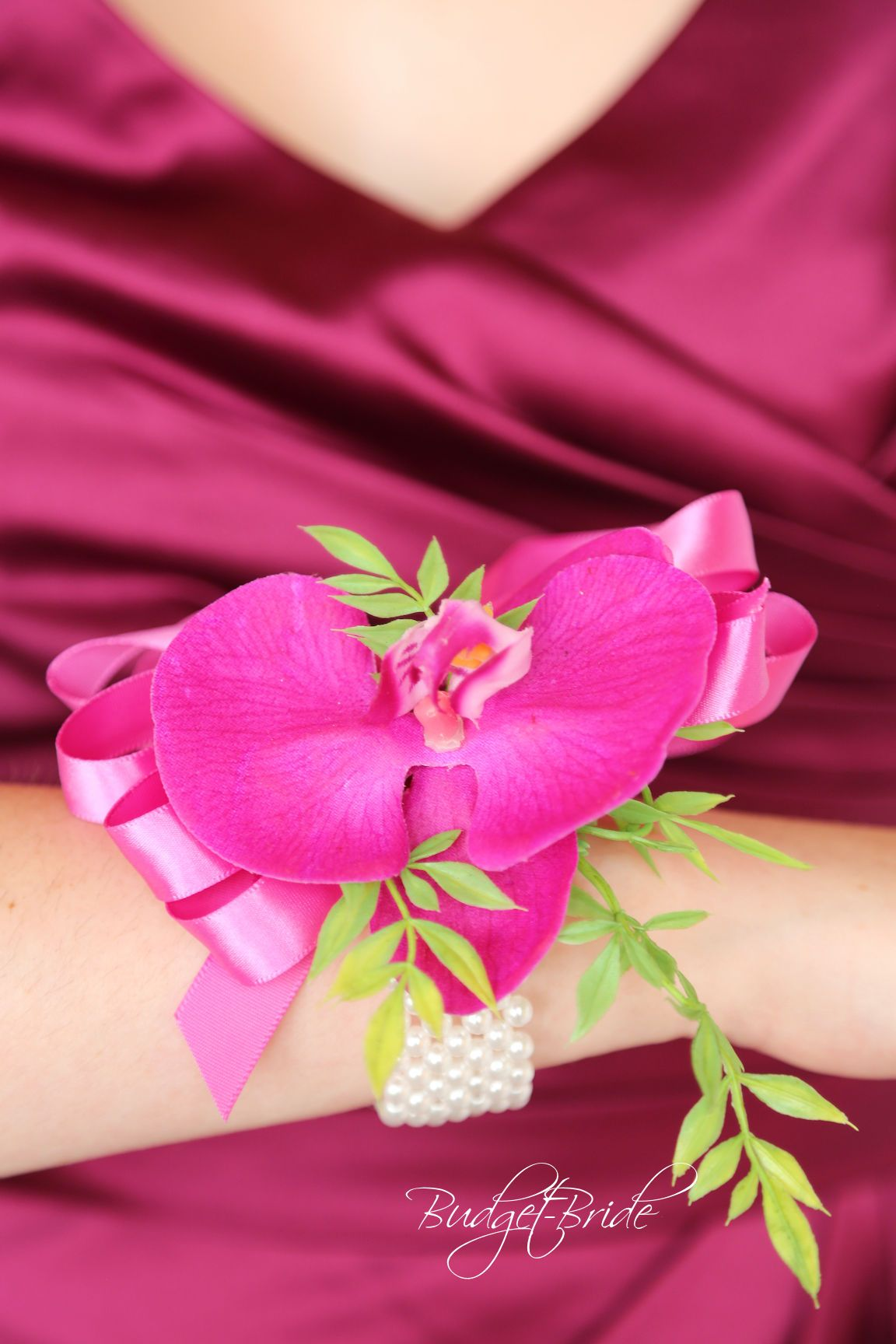 Bright Pink Orchid Corsage with sangria bridesmaid dress | Pink ...