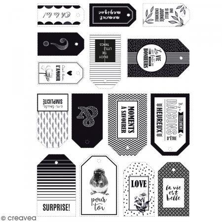 Die cut Artemio - Etiquetas Black & White - 15 pcs - Fotografía n°3