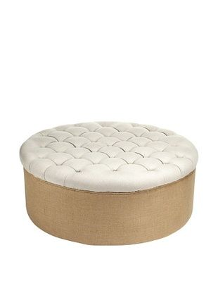 70,800% OFF Zentique Tufted Round Ottoman, Natural | Home Furniture ...