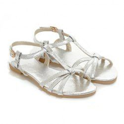 Stylish Women's Sandals With Solid Color and Flat Design