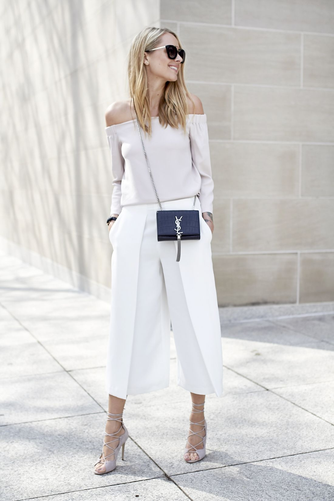 fdd6996ee8b ... culotte pants and off-the-shoulder top! M. GEMI LACE UP HEELS