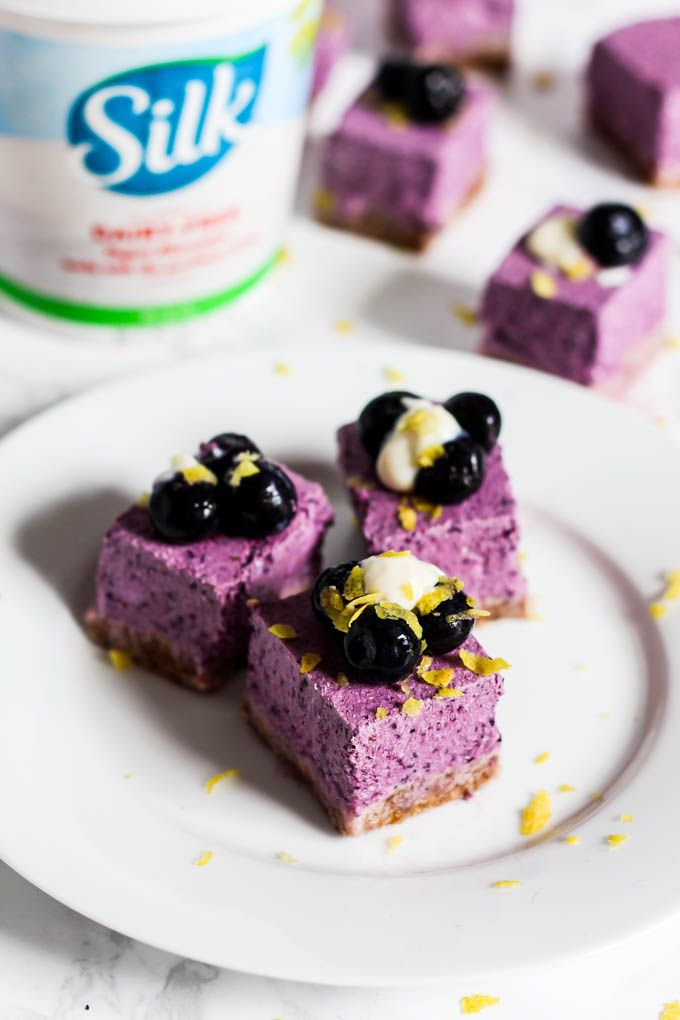 No Bake Lemon Blueberry Cheesecake Bars (vegan & gluten-free) #lemonblueberrycheesecake