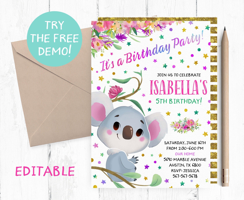 Editable Koala Invitation Koala Editable Template Koala  Etsy