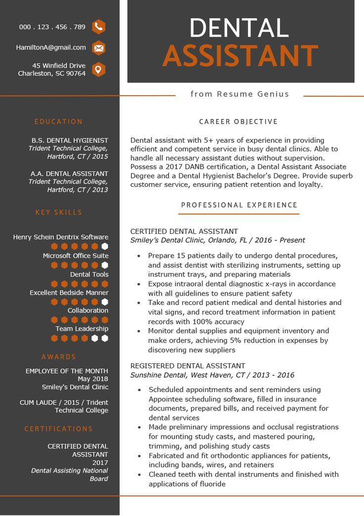 Dental assistant resume example template click image