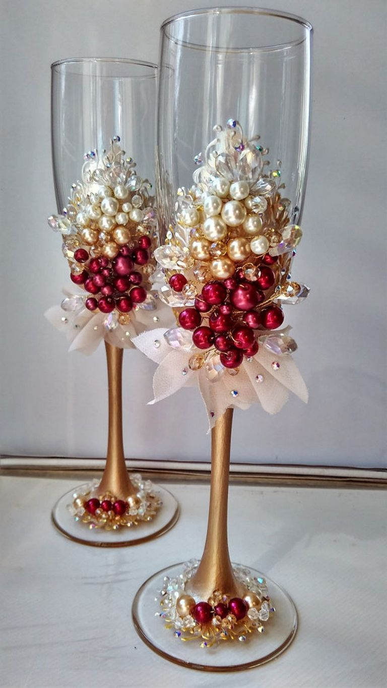 90 Glamorous Burgundy Wedding Ideas 29 Wedding Champagne Flutes Wedding Glasses Wedding Champagne Glasses
