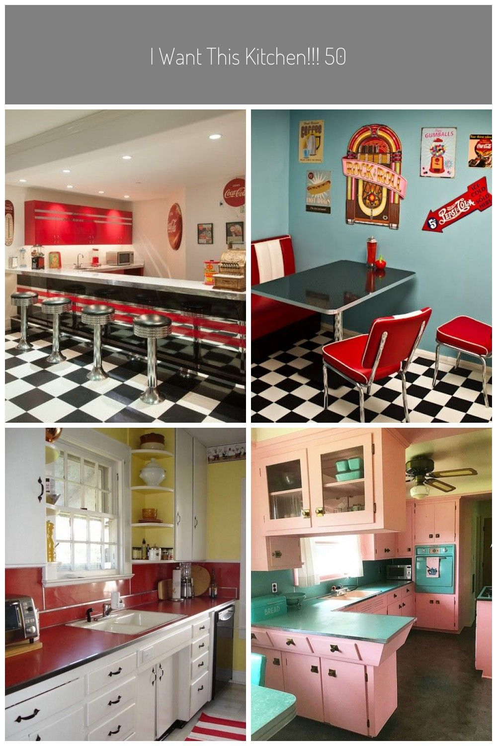 I Want This Kitchen 50s Kitchen Decorating Ideas Cool 50s Diner Kitchen Decor Cool 50 S Diner Kit 50s Diner Kitchen Kitchen Diner 50s Style Kitchens