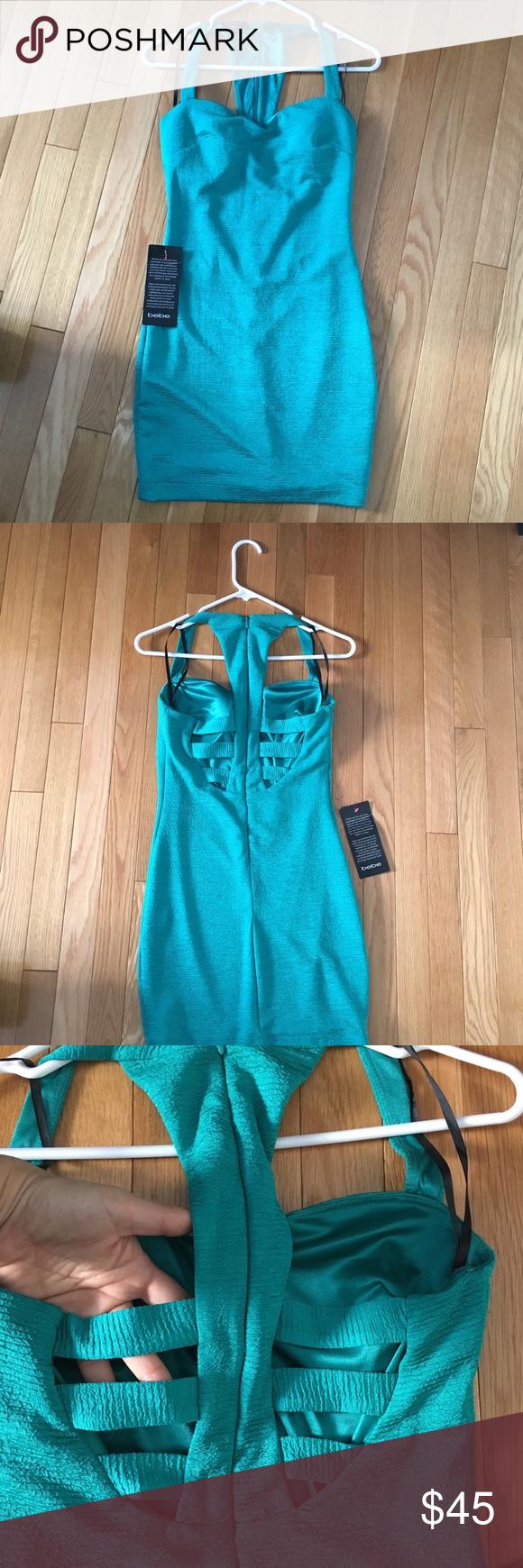 Bebe dress NWT | Bebe, Neckline and Teal