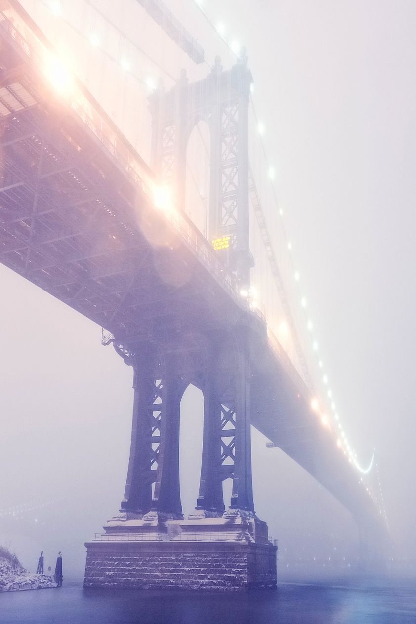 pinterest.com/fra411 #NYC - Manhattan Bridge in Blizzard, New York City by Andrew Mace