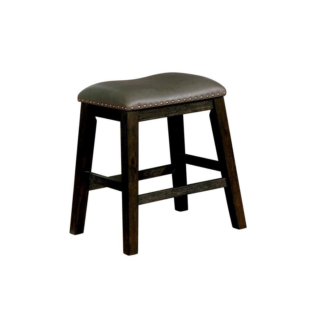 Furniture Of America Dalion 24 5 In Dark Walnut Leatherette Bar