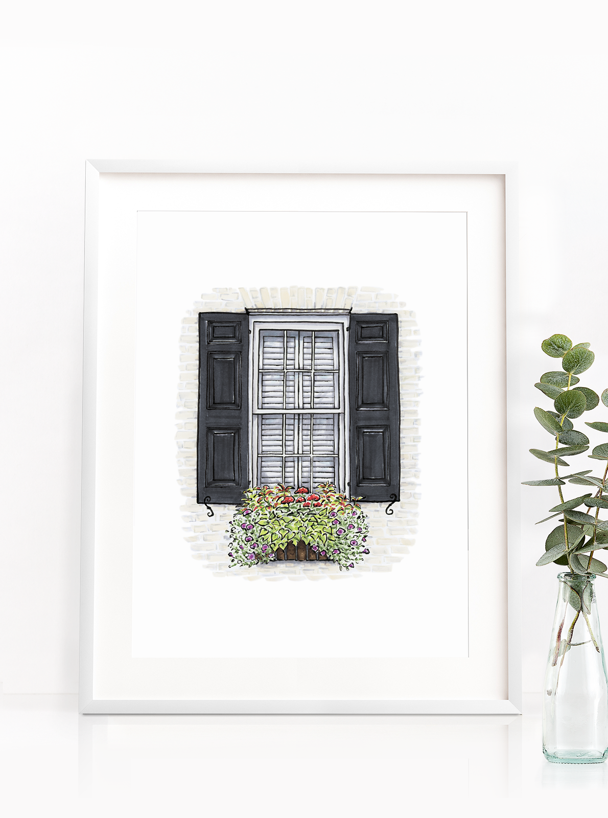 bf8658ba936 If only life was black and white right?! Check out the White House with  Black Shutters Charleston Flower Box Print!