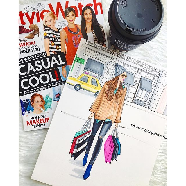 Morning in the studio!Read and get inspired from my favorite @stylewatchmag. What is your favorite fashion magazine ?#fashionillustration #fashionillustrator #rongrongdevoe #streetsyle