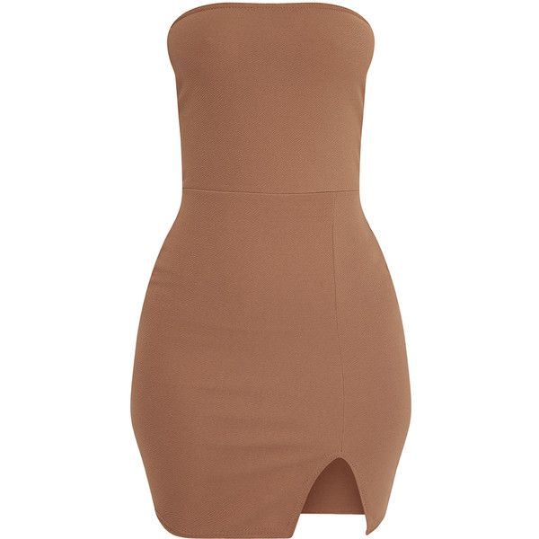 Layala Khaki Split Detail Bandeau Bodycon Dress (125 NOK) ❤ liked on Polyvore featuring dresses, body con dresses, khaki bodycon dress, bandeau dress, bodycon dress and beige dress