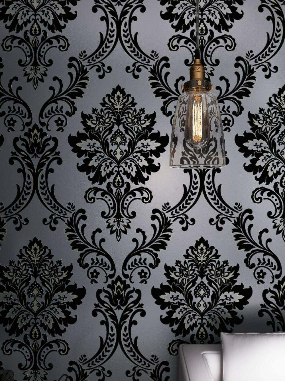 Classic Black Velvet Flocking Damask Wallpaper Textile