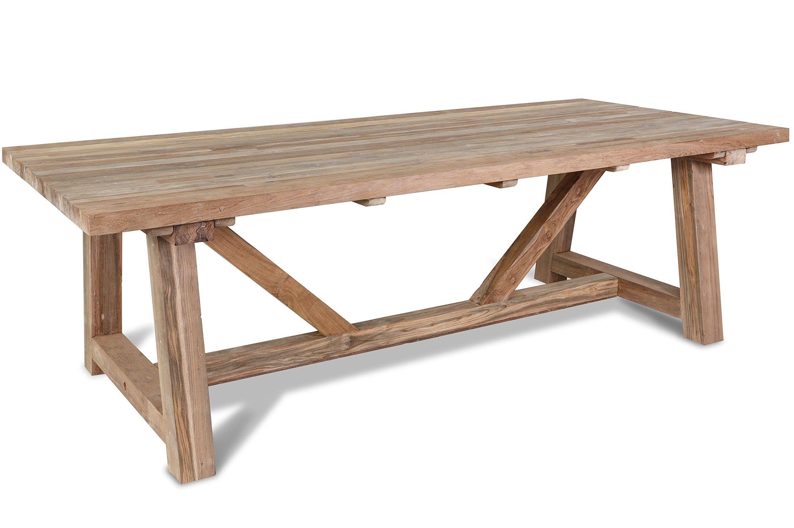 Amazon De Outflexx Grosser Xxl Tisch Gartentisch In Natur Rustikal Geburstet Esstisch Aus Teak Holz Recycelt Tisch Garten In 2020 Gartentisch Gartentisch Holz Teak