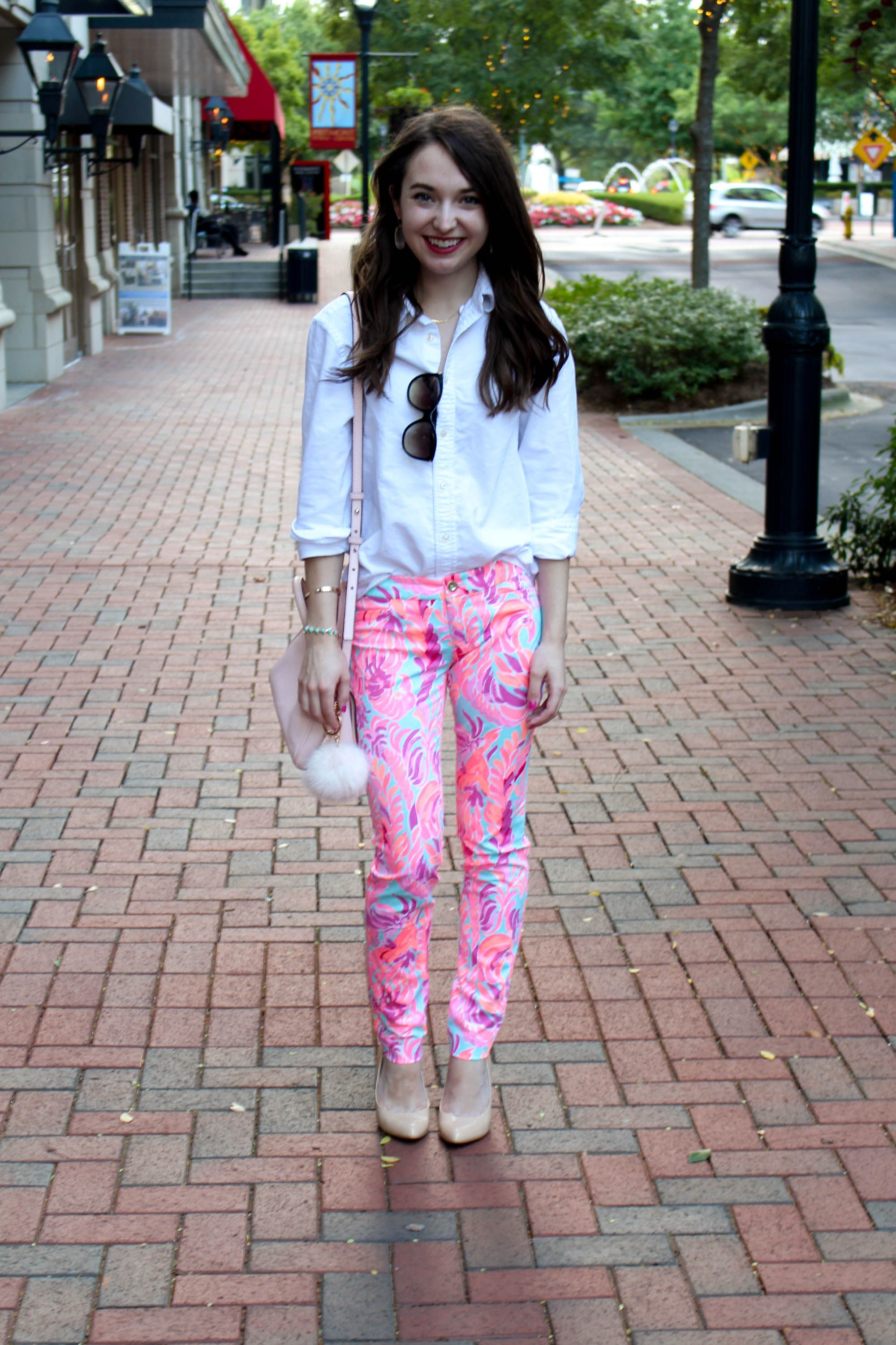 daac96448e39fd Lilly Pulitzer print Kelly pants styled with a button down and pumps for  work.