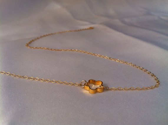 Gold Necklace Gold Flower Necklace Delicate 14k by HLcollection, $26.00