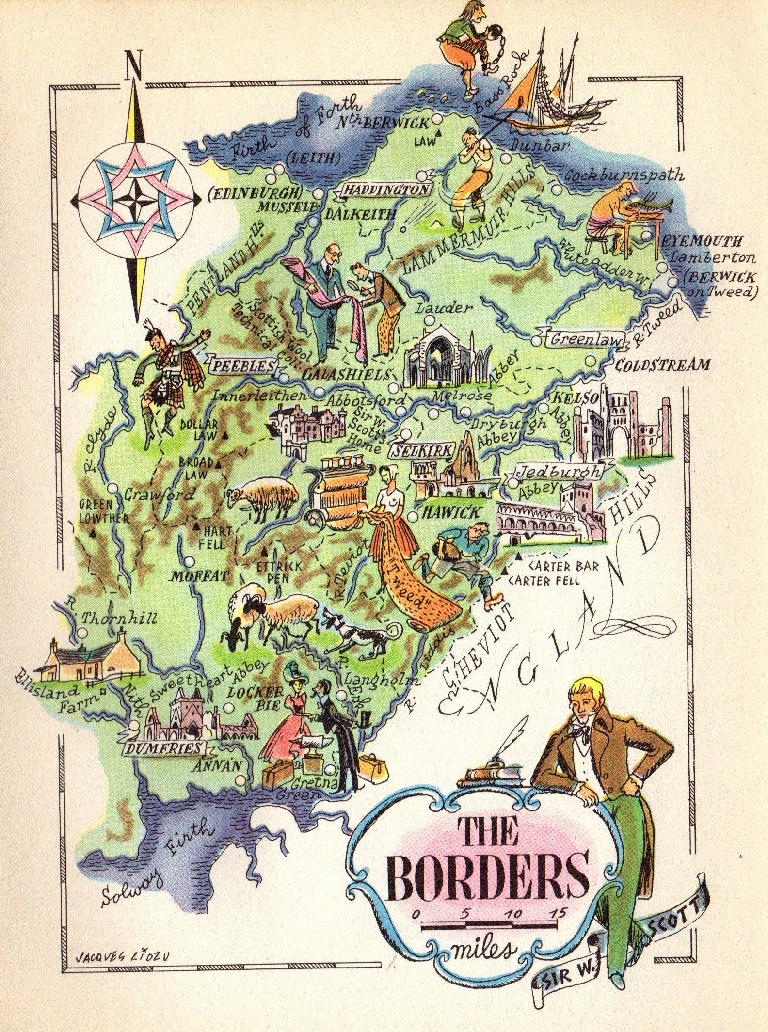 1949 Vintage England Picture Map The Borders Cartoon Map Gallery Wall Art Gift For Traveler Birthday Wedding 8117 By Pl Cartoon Map Pictorial Maps Map Wall Art
