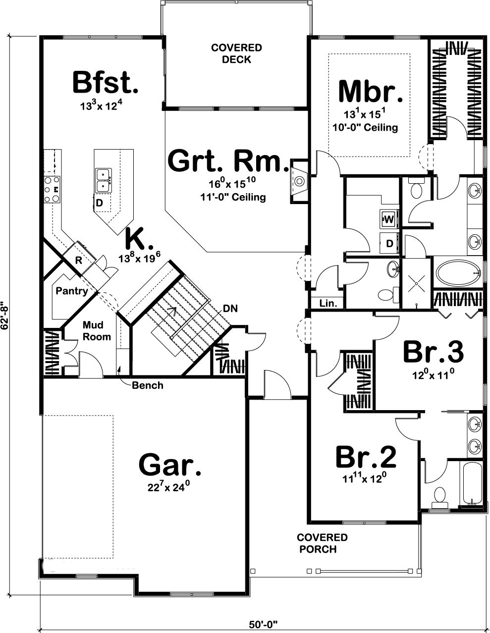 100 1195 main level house plans pinterest