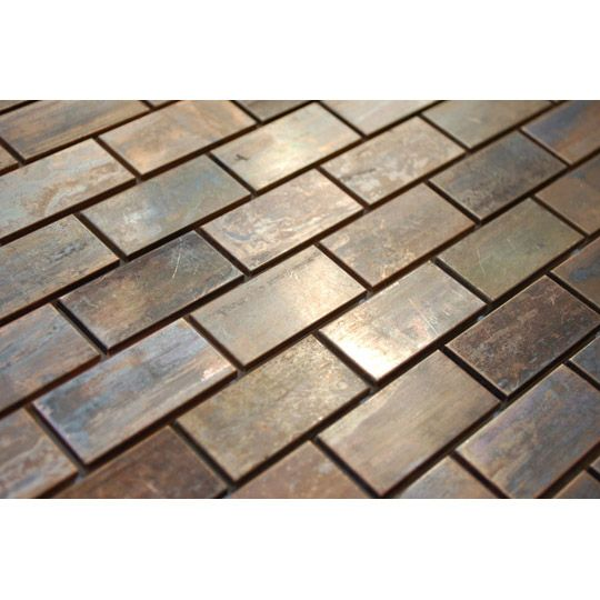Medium Brick Antique Copper Mosaic Tile Emt T13 Cop