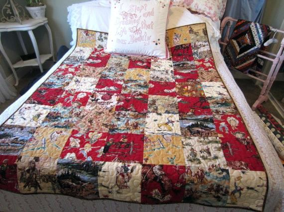 Handmade Cowgirl Cowboy Western Quilt Moda Decorator By Jlquilts