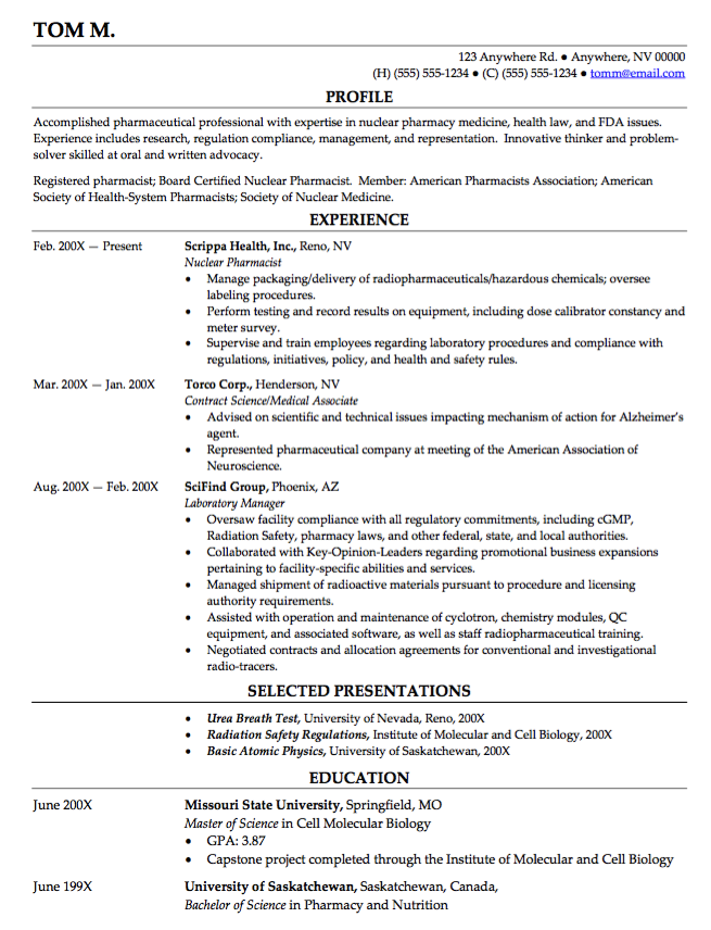 Nuclear Pharmacy Resume  HttpResumesdesignComNuclear