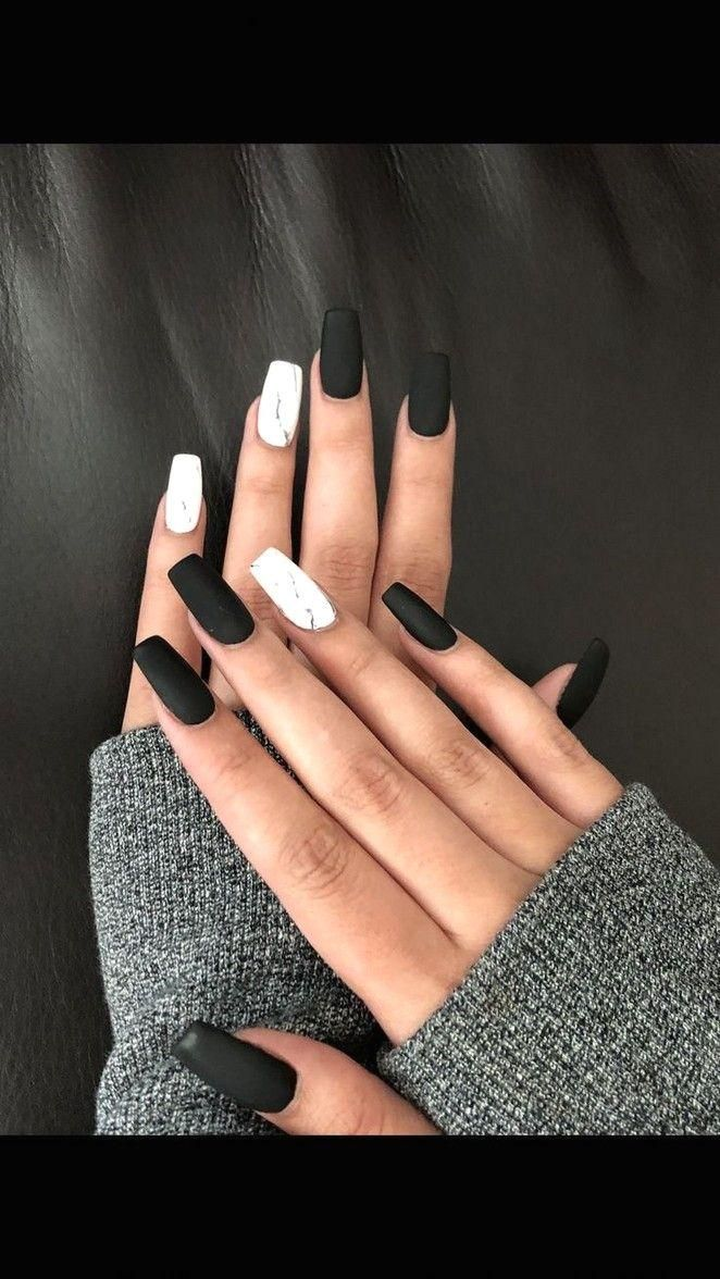 100 Black And White Acrylic Coffin Nails Ideas In 2019 Page 55 Ideas Year Nailideasacrylic In 2020 With Images White Nail Designs Marble Nail Designs
