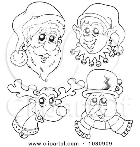 Snowman Face Pattern Clipart Outlined Santa Elf Reindeer And Snowman Faces Royalty Free Snowman Faces Printable Snowman Faces Colorful Drawings