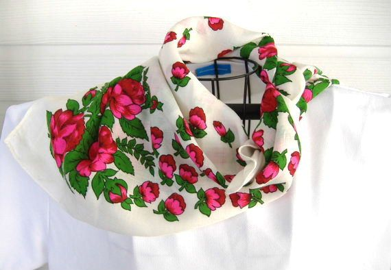 Scarf Roses On White Challis 26 Inches Square 1980s Gypsy Peasant Boho Kerchief